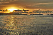 Thomas Pyrography Metal Prints - Between St. John and Thomas sunset Metal Print by Eyzen Medina