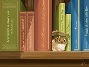 Books Paintings - Between the books by Veronica Minozzi