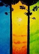 Between The Pines Print by Kyle  Brock
