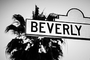 Beverly Hills Posters - Beverly Boulevard Street Sign in Black an White Poster by Paul Velgos