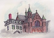 Ma.. Drawings - Beverly Church by Paul Meinerth