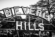 Beverly Hills Posters - Beverly Hills Sign in Black and White Poster by Paul Velgos