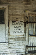 Eastern Shore Posters - Beware Bad Dog Poster by Terry Rowe