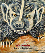 Mascots Painting Prints - Beware The Badger Print by Thomas Kuchenbecker