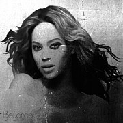 Black And White Digital Art Posters - Beyonce BW by GBS Poster by Anibal Diaz