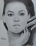 Signed Prints Drawings - Beyonce Charcoal by Lance  Freeman