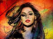 Entertainment Prints - Beyonce Print by Mark Ashkenazi
