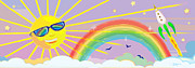 Sun Rays Mixed Media Prints - Beyond The Rainbow Print by J L Meadows