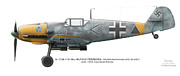 Aeroplanes Framed Prints - Bf 109E-7/B  Maj. Alfred Druschel Gruppenkommandeur I./Sch.G.1 June 1942. Charkow-Rogan Framed Print by Vladimir Kamsky