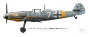 Aeroplanes Framed Prints - Bf 109F-2. Staffelkapitan 1./JG 3 Oblt. Robert Olejnik. 3 July 1941. Lyzk. Russia. 1941 Framed Print by Vladimir Kamsky