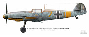 The 4 Aces Framed Prints - Bf 109F-4/R-1 W.Nr.13325. Staffelkapitan 9./JG 3 Oblt. Viktor Bauer. July 1942. Nowy-Cholan Framed Print by Vladimir Kamsky