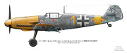 4 Aces Prints - Bf 109F-4 W.Nr.7420. Staffelkapitan 9./JG 52 Oblt. Hermann Graf. May 1942. Charkow-Rogan. Print by Vladimir Kamsky