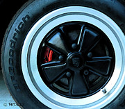 Hand Crafted Paintings - BF Goodrich Tire on Porsche Fuchs Wheel by George Pedro