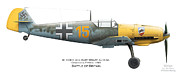 Britain Ww2 Posters - Bf109E-4. Uffz. Kurt Wolff. 3./JG 52. Coquelles. France. Battle of Britain 1940 Poster by Vladimir Kamsky