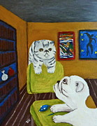 Persian Cat Paintings - BFFs by Victoria Lakes