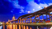 Thai Framed Prints - Bhumibol bridge in Bangkok Framed Print by Anek Suwannaphoom