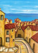 Tiled Painting Posters - Biagi in Tuscany Poster by Pamela Allegretto