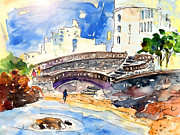 Atlantic Beaches Drawings Posters - Biarritz 07 Poster by Miki De Goodaboom