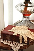 Oil Lamp Photos - Bible and Antique Lamp and Gloves by Pattie Calfy