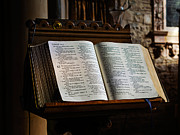King James Photo Prints - Bible open on a lectern Print by Louise Heusinkveld