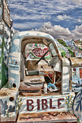 Salvation Mountain Posters - Bible truck Poster by Hugh Smith