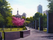 Buildings In Nashville Paintings - Bicentennial Capital Mall Park by Janet King
