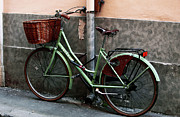 Bicycle Basket Prints - Bicicletta Verde Print by John Rizzuto