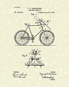 Bike Drawings Prints - Bicycle 1896 Patent Art Print by Prior Art Design