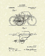 Bicycle Drawings - Bicycle Attachment 1913 Patent Art by Prior Art Design