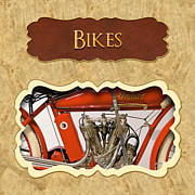 Motorcycles Art - Bicycle button by Mike Savad