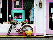 Shopfronts Posters - Bicycle By Antique Shop Poster by Susan Savad