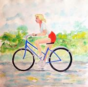 Girl On Bike Framed Prints - Bicycle Framed Print by Fred Jinkins