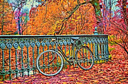 Autumn Trees Mixed Media Prints - Bicycle Print by Gynt  