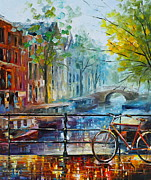 Architecture Painting Prints - Bicycle in Amsterdam Print by Leonid Afremov