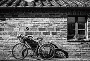Bicycle In Black And White Print by Clint Brewer