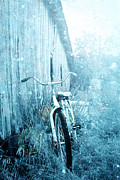 Cabin Wall Framed Prints - Bicycle in Blue Framed Print by Stephanie Frey