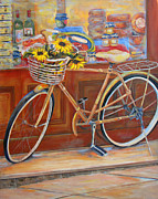 Italian Market Framed Prints - Bicycle in Cortona Framed Print by Brenda Brannon