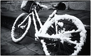 Blizzard Framed Prints - Bicycle In Snow Framed Print by Joan Carroll