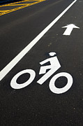 Roadway Posters - Bicycle Lane Poster by Olivier Le Queinec