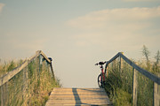 Soft Tones Posters - Bicycle on Beach Boardwalk Poster by Stephanie McDowell