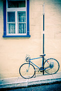Street Framed Prints - Bicycle on the streets of Old Quebec City Framed Print by Edward Fielding
