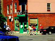 Montreal Diner Paintings - Bicycle Path At Wilenskys Diner Rue Fairmount And Clark Montreal Cafe Street Scene Carole Spandau by Carole Spandau