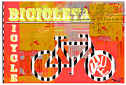 Spanish Mixed Media Prints - Bicycle Pop Art - Bicicleta Print by Anahi DeCanio