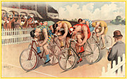 Antique Digital Art Prints - Bicycle Race Poster Print by Gary Grayson