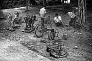 Tyre Metal Prints - Bicycle repair in Amarapura Metal Print by RicardMN Photography