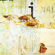 Industrial Mixed Media Prints - Bicycle Urban Wall collage Print by Adspice Studios