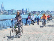 Bicycles - Bicycling Along Pier A Hoboken Nj Print by Susan Savad