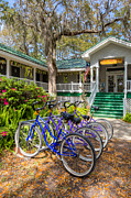 Porches Prints - Bicycles on Jekyll Island Print by Debra and Dave Vanderlaan