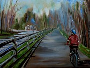 Bicycling Paintings - Bicycling by Grace Diehl