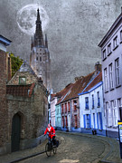 Medieval Framed Prints - Bicycling Through Bruges Framed Print by Juli Scalzi